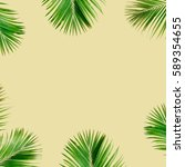 tropical exotic palm branches... | Shutterstock . vector #589354655