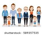 family caucasian character set... | Shutterstock .eps vector #589357535