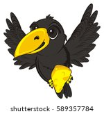 black crow flying and hold a... | Shutterstock . vector #589357784