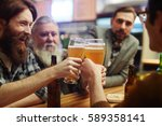bearded men with glasses of... | Shutterstock . vector #589358141
