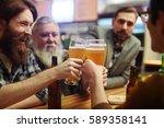 bearded men with glasses of...   Shutterstock . vector #589358141