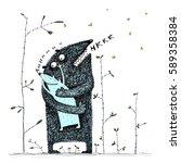 sweet monster hugs cute little...   Shutterstock .eps vector #589358384