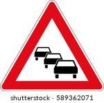 traffic jam. vector road sign... | Shutterstock .eps vector #589362071