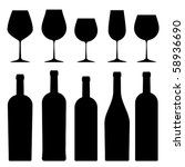 Silhouettes Of Wineglasses And...