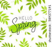hello spring. calligraphy and... | Shutterstock .eps vector #589377191