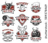 set of meat store  fresh meat...   Shutterstock .eps vector #589378469