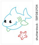 vector coloring book of cute... | Shutterstock .eps vector #589381934