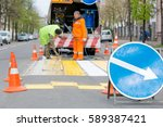 road sign at city street on... | Shutterstock . vector #589387421