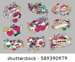 set of love. greeting cards for ... | Shutterstock .eps vector #589390979