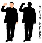 silhouette of a man waving hand | Shutterstock .eps vector #589391831