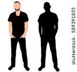 vector silhouette of a man with ... | Shutterstock .eps vector #589391855
