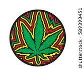 green cannabis leaf in circle... | Shutterstock .eps vector #589393451