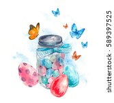 Watercolor Cute Glass Jar With...