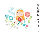hello spring  greeting card in... | Shutterstock .eps vector #589400501