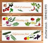 horizontal vegetable banner...   Shutterstock .eps vector #589401995