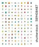 set of vector icons. flat... | Shutterstock .eps vector #589408487