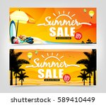 summer sale banner design in... | Shutterstock .eps vector #589410449