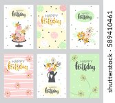 happy birthday card with golden ... | Shutterstock .eps vector #589410461