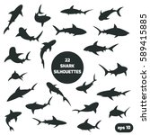 set of 22 different shark... | Shutterstock .eps vector #589415885