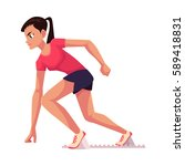 young and pretty female runner  ... | Shutterstock .eps vector #589418831