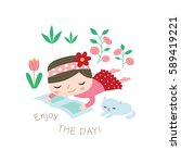 enjoy the day  greeting card in ... | Shutterstock .eps vector #589419221