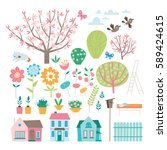 spring elements collection. set ... | Shutterstock .eps vector #589424615