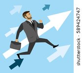 businessman runs on the arrows... | Shutterstock . vector #589424747