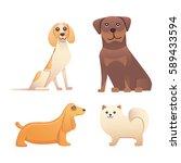 different type of cartoon happy ... | Shutterstock .eps vector #589433594