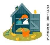 henhouse with funny birds on a... | Shutterstock .eps vector #589443785