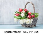 Colorful Tulips Bouquet Basket...