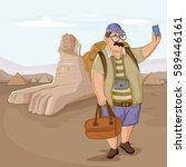tourist traveling near sphinx... | Shutterstock .eps vector #589446161