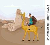 tourist traveling near sphinx... | Shutterstock .eps vector #589446275
