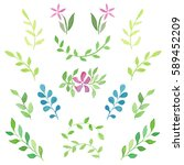 set of watercolor young green... | Shutterstock .eps vector #589452209