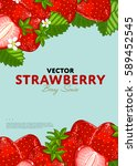 organic berry banner with juicy ... | Shutterstock .eps vector #589452545