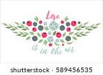 spring typographic flower... | Shutterstock .eps vector #589456535
