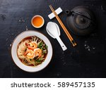asian ramen noodles with broth... | Shutterstock . vector #589457135
