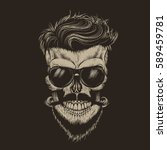hipster skull with hairstyle... | Shutterstock .eps vector #589459781