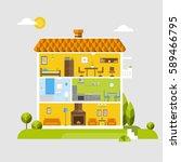 flat design of house interior | Shutterstock .eps vector #589466795