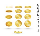 gold coins falling  isolated on ... | Shutterstock .eps vector #589467305