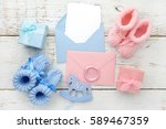 set of baby girl and boy... | Shutterstock . vector #589467359