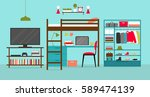 vector room interior of a young ... | Shutterstock .eps vector #589474139