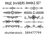 set of page divider in doodle... | Shutterstock . vector #589477799