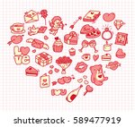 set of valentine icon doodle in ... | Shutterstock . vector #589477919