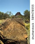 Small photo of Australia, rock with Aborigine gravings in N'dhala Gorge Natur Park in East Mac Donnell Range