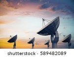 side view of backlit satellites ... | Shutterstock . vector #589482089