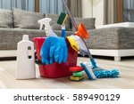 cleaning service. bucket with... | Shutterstock . vector #589490129
