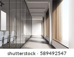 front view of office interior... | Shutterstock . vector #589492547