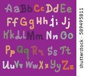 vector hand drawn alphabet.... | Shutterstock .eps vector #589495811