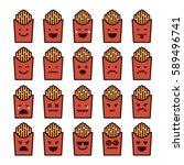 vector icons set of emoji in... | Shutterstock .eps vector #589496741