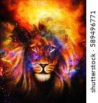 Portrait Lion In Cosmic Space....